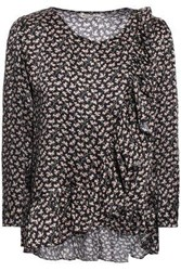 Masscob Woman Loeb Ruffled Floral Print Hammered Satin Blouse Black