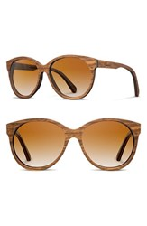 Women's Shwood 'Madison' 54Mm Round Wood Sunglasses