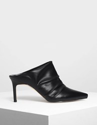 Charles And Keith Ruched Mules Black