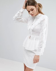 True Decadence Ruffle Detail Long Sleeve Blouse White