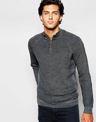 Ted Baker Knitted Jumper With Zip Neck Charcoal