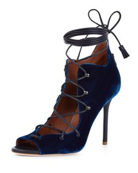Malone Souliers Savannah Velvet Lace Up Ankle Wrap Pump Navy