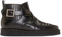 Underground Black Leather And Calf Hair Creeper Boots