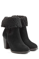 Ugg Australia Charlee Suede Ankle Boots With Sheepskin Black