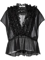 Givenchy Ruffle Placket Semi Sheer Blouse Black