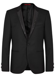 Hugo Adrison Embellished Lapel Tuxedo Jacket Black