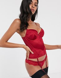 Dorina Anderson Satin With Lace Multiway Corset In Red