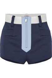 Miu Miu Color Block Neoprene Shorts Navy