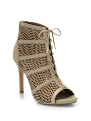 Joie Shari Embossed Leather And Suede Lace Up Booties Beige