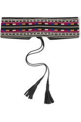 Isabel Marant Embellished Embroidered Cotton And Leather Belt Black