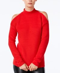 Bar Iii Ribbed Cold Shoulder Sweater Only At Macy's Chili Red