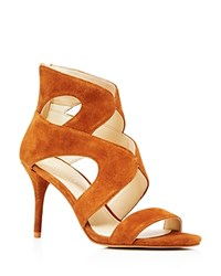 Marc Fisher Brittany Strappy Open Toe High Heel Sandals Compare At 89 Cognac Brown
