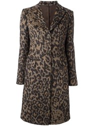 Tagliatore Leopard Print Coat Brown