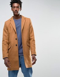 Only And Sons Overcoat Dark Camel Beige