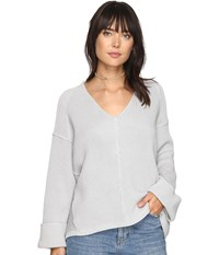 Free People La Brea V Neck Sweater Grey Women's Sweater Gray