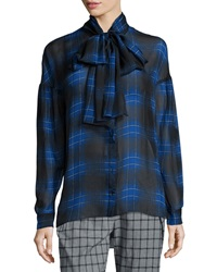 Thakoon Plaid Tie Neck Silk Blouse Blue Multi