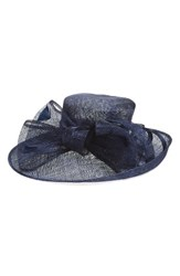Nordstrom Women's Sinamay Bow Derby Hat Blue Navy Combo