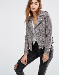 Religion Leather Biker Jacket In All Over Leopard Print Flint Printleather Multi
