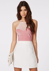 Missguided Square Neck Sweetheart Crop Top Pink