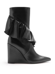 J.W.Anderson Ruffled Leather Mid Calf Boots Black