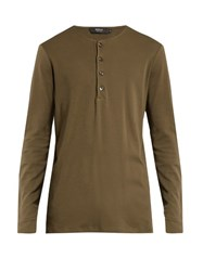 Helbers Long Sleeved Cotton Jersey Henley Top Khaki