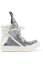Rick Owens Metallic Patent Leather High Top Sneakers