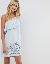 Urban Bliss One Shoulder Dress With Embroidery Blue
