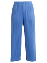 Issey Miyake Classic Wide Leg Pleated Trousers Blue
