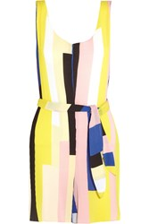 Sandro Panam Printed Pliss And Eacute Crepe Playsuit Yellow