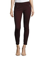 Matty M Solid Zip Front Leggings Deep Merlot