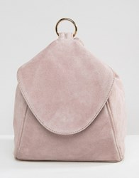 Asos Suede Minimal Backpack With Strap Ring Pull Detail Lilac Purple
