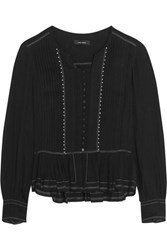 Isabel Marant Randal Embellished Cotton Gauze Blouse Black