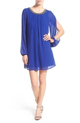 Women's Speechless Split Sleeve Shift Dress With Embellished Neck Royal Blue