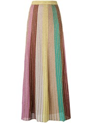 M Missoni Metallic Knit Maxi Skirt Women Cotton Polyamide Polyester 40 Pink Purple