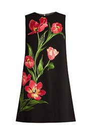 Dolce And Gabbana Embroidered Wool Blend Mini Dress Black Multi