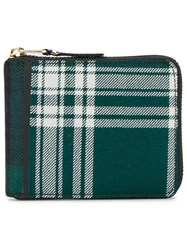 Comme Des Garcons Wallet Sa7100tp Tartan Leather And Wool Patchwork Wallet Green