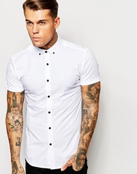 Asos Skinny Shirt In White With Button Down Collar And Contrast Buttons