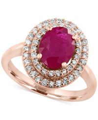 Effy Amore By Certified Ruby 1 9 10 Ct. T.W. And Diamond 3 8 Ct. T.W. Ring In 14K Rose Gold