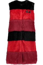 Ainea Embellished Striped Faux Fur Gilet Red