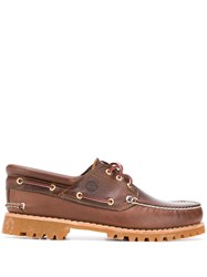 Timberland Contrast Stitch Boat Shoes Brown