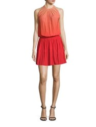 Ramy Brook Paris Blouson Ombre Dress Nude To Spring Red