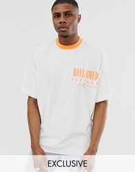 Reclaimed Vintage Logo T Shirt With Contrast Neon Ringer White
