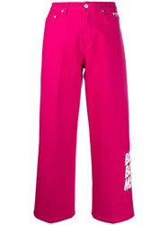 Msgm High Rise Wide Leg Jeans Pink