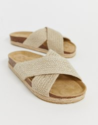 South Beach Natural Woven Cross Over Slide With Espadrille Soles Beige