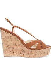 Christian Louboutin Lady Wedgy 120 Leather Wedge Sandals Tan