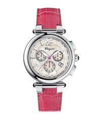 Salvatore Ferragamo Ladies Silver Tone Chronograph Watch With Pink Leather Strap