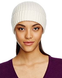C By Bloomingdale's Cashmere Ribbed Hat Ivory