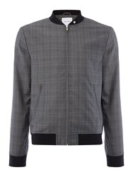 Peter Werth Rogers Wool Mix Check Bomber Jacket Grey