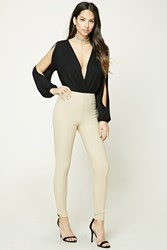 Forever 21 Textured Skinny Pants Taupe