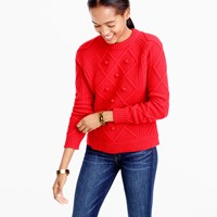 J.Crew Cable Pom Pom Sweater In Merino Wool
